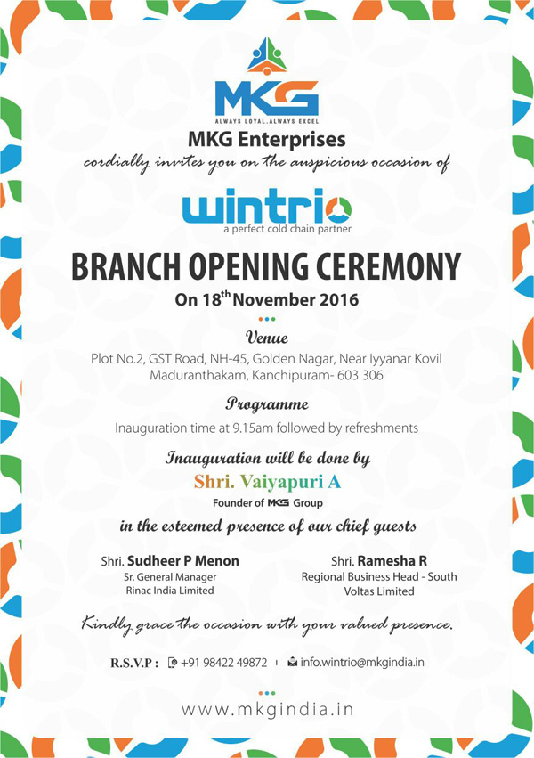 Mkg welcome all for its wintrio cold chain division branch mkg group is planning to open a new branch of its hallmark cold chain products division wintrio a perfect cold chain partner at maduranthakam stopboris Image collections